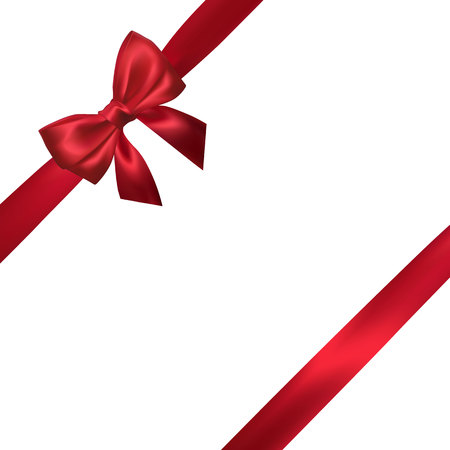 Illustration pour Realistic red bow with red ribbons isolated on white. Element for decoration gifts, greetings, holidays. Vector illustration. - image libre de droit