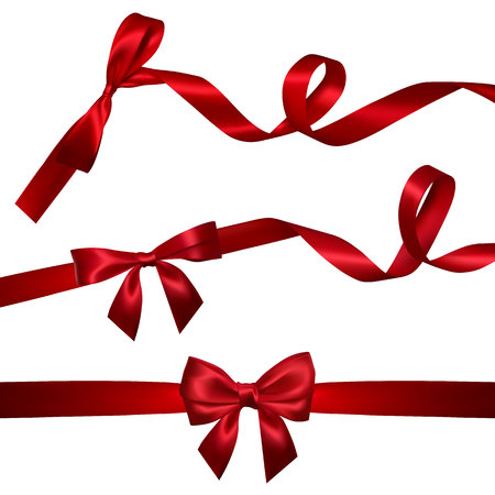 Illustration pour Set of Realistic red bow with long curled red ribbon. Element for decoration gifts, greetings, holidays, Valentines Day design. Vector illustration. - image libre de droit