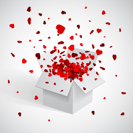Illustration for Open white Gift Box and Heart Confetti. Christmas and Valentine Background. Vector Illustration. - Royalty Free Image