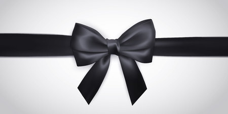 Illustration pour Realistic black bow with ribbon isolated on white. Element for decoration gifts, greetings, holidays. Vector illustration. - image libre de droit