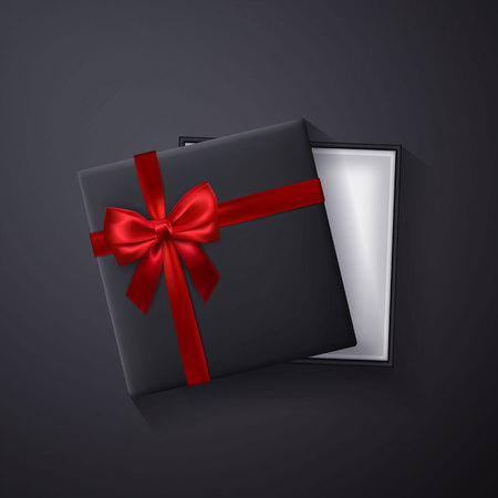 Illustration pour Open black empty gift box with red bow and ribbon on dark background. Top view. Template for your presentation, banner or poster. Vector illustration. - image libre de droit