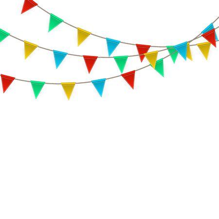 Vektor für Celebration carnival. Party background with flags. Luxury greeting card. Vector illustration. - Lizenzfreies Bild