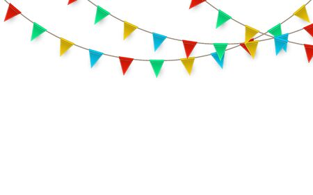 Illustration for Celebration carnival. Party background with flags. Luxury greeting card. Vector illustration. - Royalty Free Image