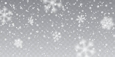 Illustration for Christmas snow. Falling snowflakes on transparent background. Snowfall. Vector illustration. - Royalty Free Image