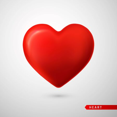 Illustration for Red Heart. Love symbol isolated on gray background. Vector illustration. - Royalty Free Image