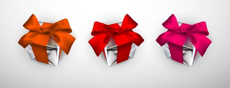 Illustration pour Realistic gift box with red, pink and orange bow isolated on gray background. Vector illustration. - image libre de droit