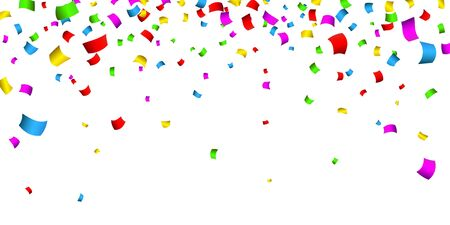 Illustration for Colorful confetti. Celebration carnival falling shiny glitter confetti. Luxury greeting card. Vector illustration. - Royalty Free Image