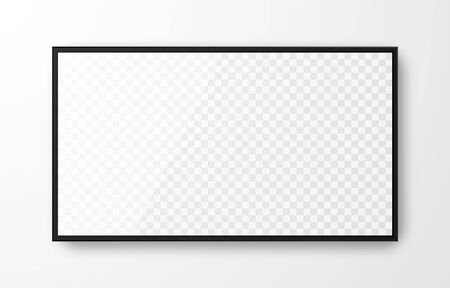 Illustration pour Realistic black television screen on transparent background. Mockup of computer monitor display. 3d TV led monitor. Vector illustration. - image libre de droit