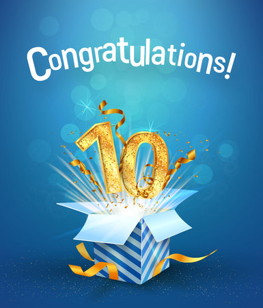 Ilustración de Explosion in the gift box flies the golden numbers. Ten years anniversary on blue background. Template tenth birthday celebration vector Illustration - Imagen libre de derechos