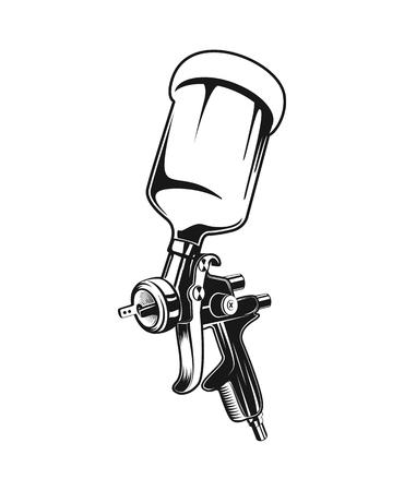 Ilustración de Vector illustration of isolated monochrome spray gun. Custom services tool - Imagen libre de derechos