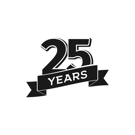 Ilustración de A Vector 25 years anniversary logotype on Isolated black logo 25th jubilee on white background - Imagen libre de derechos