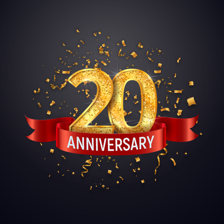 Illustration pour 20 years anniversary logo template on dark background. Twenty celebrating golden numbers with red ribbon vector and confetti isolated design elements - image libre de droit