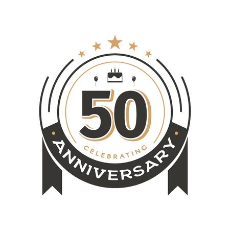 Ilustración de Birtday vintage logo template to 50th anniversary circle retro isolated vector emblem. Fifty years old badge on white background - Imagen libre de derechos