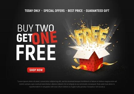 Illustration pour Buy 2 get 1 free vector illustration. Ad Special offer super sale red gift box on dark background - image libre de droit