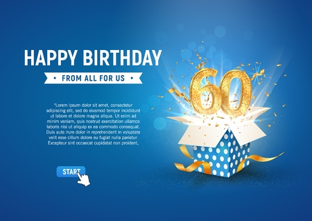 Ilustración de 60 th years anniversary banner with open burst gift box. Template sixtieth birthday celebration and abstract text on blue background vector illustration - Imagen libre de derechos