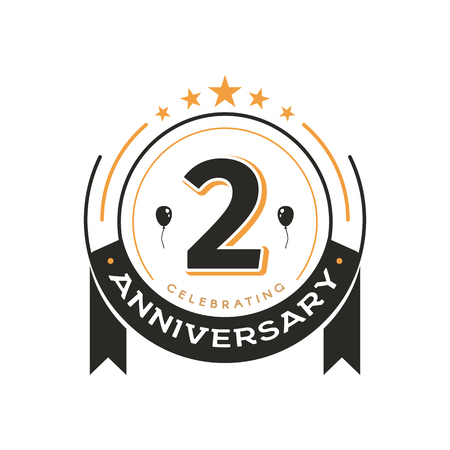 Ilustración de Birthday vintage logo template 2 nd anniversary circle retro isolated vector emblem. Second years old badge on white background - Imagen libre de derechos