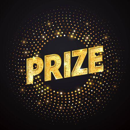 Illustration pour Prize   golden word design element. Isolated winning   on dark background - image libre de droit