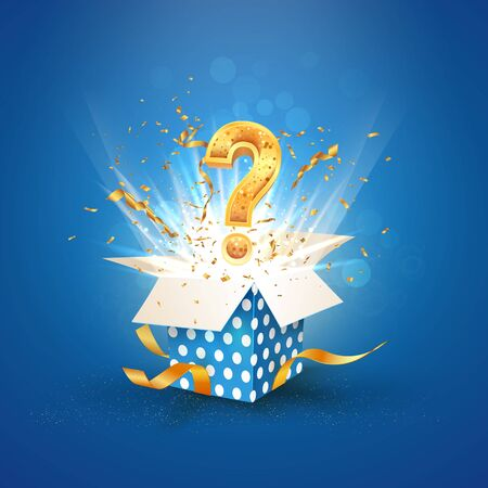 Illustration pour Open textured blue box with question sign and confetti explosion inside and on blue background. Lottery vector illustration - image libre de droit