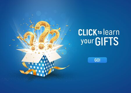 Illustration pour Open textured blue box with question signs and confetti explosion inside and on blue background. Winning gifts lottery vector illustration - image libre de droit