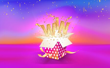 Illustration pour Open textured gift box with confetti explosion inside and WIN word. Big win. Gift box on bright liquid background. Vector illustration - image libre de droit