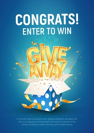 Illustration pour Giveaway word above open textured blue box with confetti explosion inside on blue background illustration poster template. Gift away text and giftbox quiz or lottery template. - image libre de droit