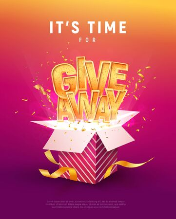 Illustration pour Giveaway word above open box with confetti explosion inside on colorful background illustration poster template. Give away text and giftbox isolated vector object. - image libre de droit