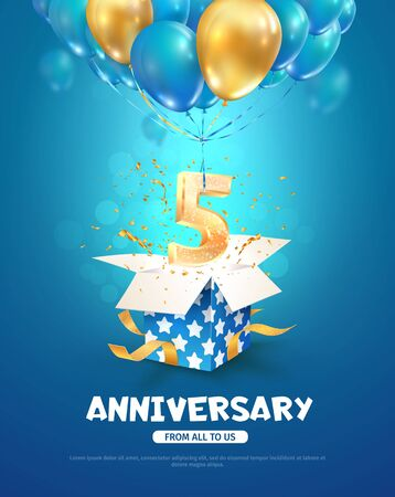 Illustration for Celebrating of 5 th years birthday vector 3d illustration. Fifth anniversary celebration. Open gift box with explosions confetti and number five flying on balloons on light background. - Royalty Free Image