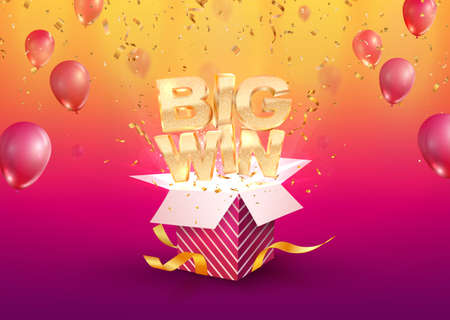 Illustration pour Big win vector illustration. Gambling advertising banner. Open textured gift box with confetti explosion out off. Giftbox on bright background. - image libre de droit