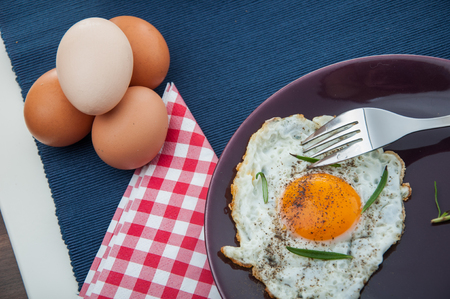 Bright concept of breakfast with egg