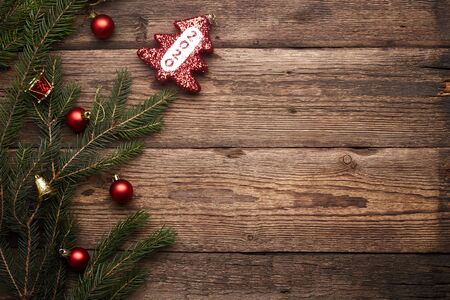 Photo for 2020. Christmas or New Year decoration background. Brown grunge background with copy space. - Royalty Free Image
