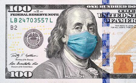 Photo pour COVID-19 coronavirus in USA, 100 dollar money bill with face mask. Crisis and finance concept - image libre de droit
