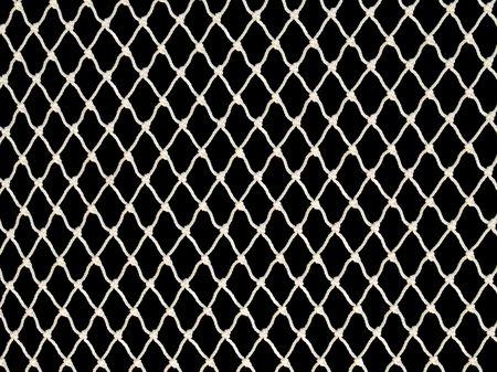 White fishing net on black background.