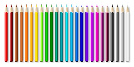 Varicolored color pencils set isolated on white background.