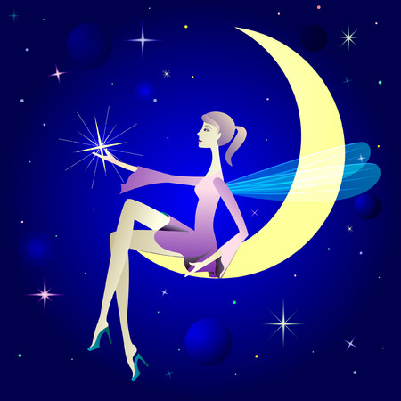 Pretty girl as winged elf sit on moon.