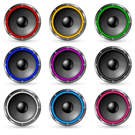 Colorful speakers set isolated on white background.
