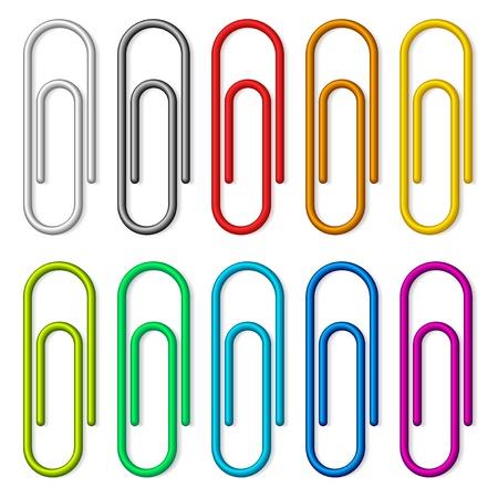 Ilustración de Colorful paper clips set isolated on white background. - Imagen libre de derechos