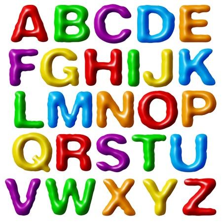 Plasticine alphabet isolated on white background.
