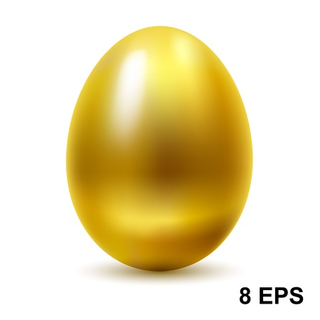 Gold egg on white background.