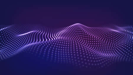 Photo for Abstract background of moving particles. Futuristic dotted wave. Big data. Vector illustration. - Royalty Free Image