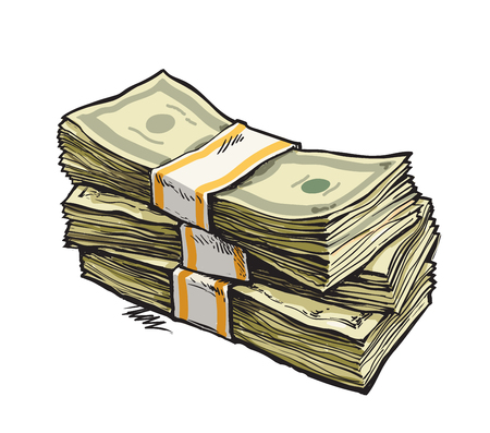 Illustration pour Stack of money. Dollar bills. Hand drawn vector illustration. Isolated. - image libre de droit