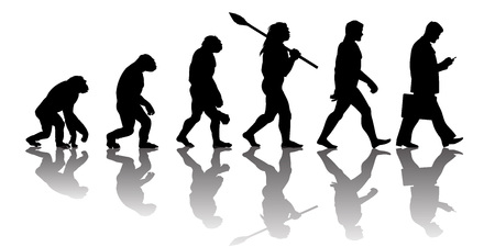 Illustration pour Theory of evolution of man. Silhouette with reflection. - image libre de droit