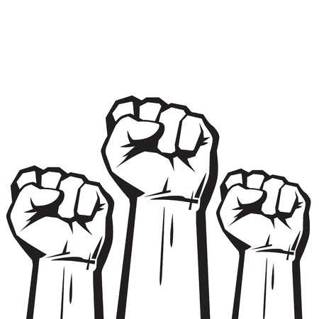Clenched fists raised in protest.
