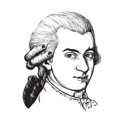 Ilustración de Wolfgang Amadeus Mozart. Vector portrait. - Imagen libre de derechos