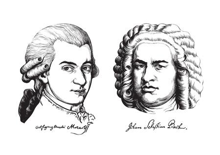Ilustración de Wolfgang Amadeus Mozart and Johann Sebastian Bach. Vector. - Imagen libre de derechos