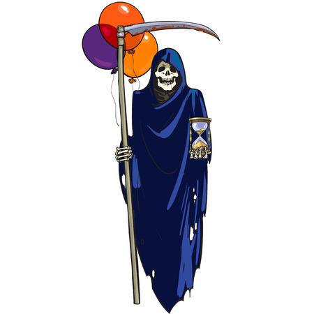 Illustration pour Death with hourglass, scythe and colorful balloons. Halloween character. Cartoon hand drawn vector illustration. - image libre de droit