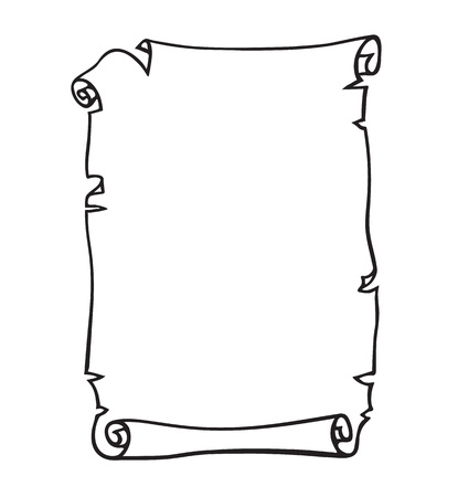 Illustration pour Parchment, old paper scroll. Place for text. Black and white hand drawn vector illustration. - image libre de droit