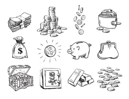 Illustration pour Sketch of finance money set. Sack of dollars, stack of coins, coin with dollar sign, treasure chest, stack of bills, falling coins, bank safe, piggy bank, gold bars, purse, wallet. Vector. - image libre de droit