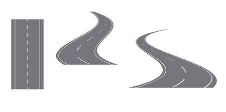gray road with white markings  vector set
