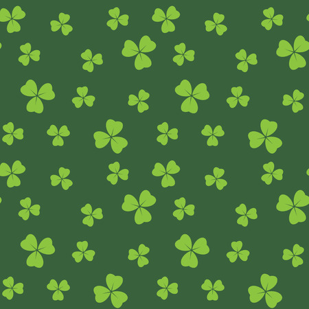 Ilustración de dark green seamless pattern with bright green shamrock leaves - vector background - Imagen libre de derechos