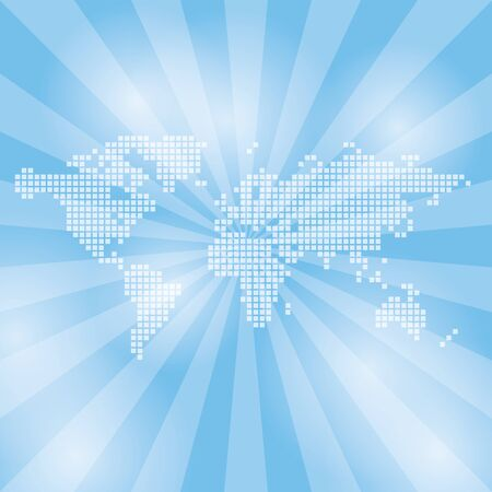 Illustration pour light blue  background with abstract map and rays - vector - image libre de droit